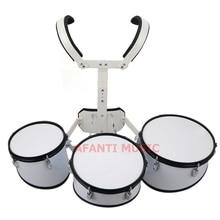 Afanti Music 3 PCS White Marching Drum MAD 112