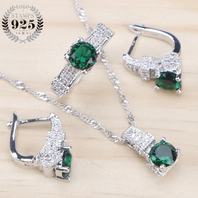 Bridal 925 Sterling Silver Jewelry Sets Green Zirconia  2