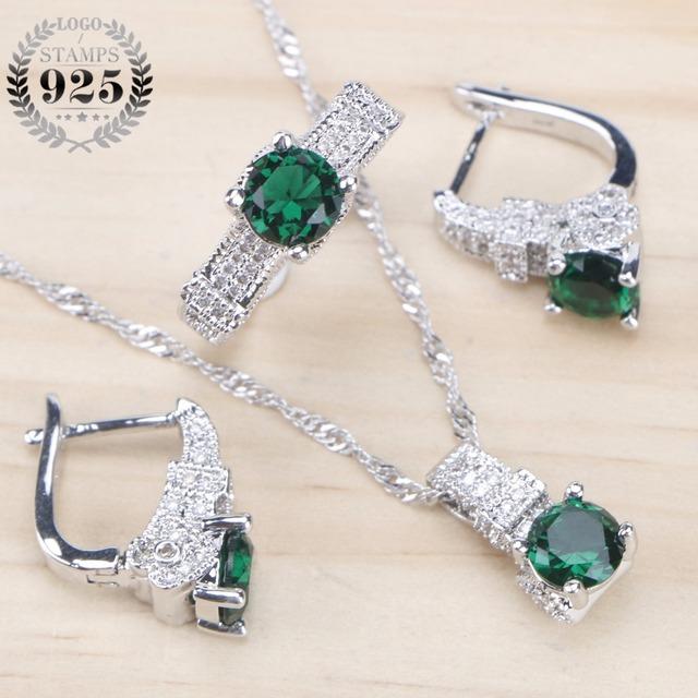 Sølv smykkersett Stiller Grønn Zirconia Stone øredobber for kvinner Wedding Smykker Med Ring anheng halskjede Set