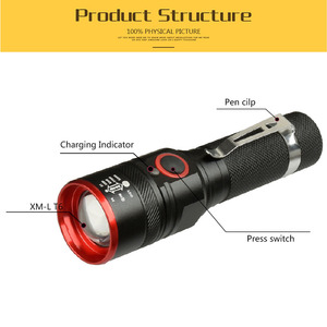 Image 3 - Novo usb recarregável lanterna t6 led flash luz zoomable 3 modos tocha para 18650 com cabo usb acampamento pesca correndo