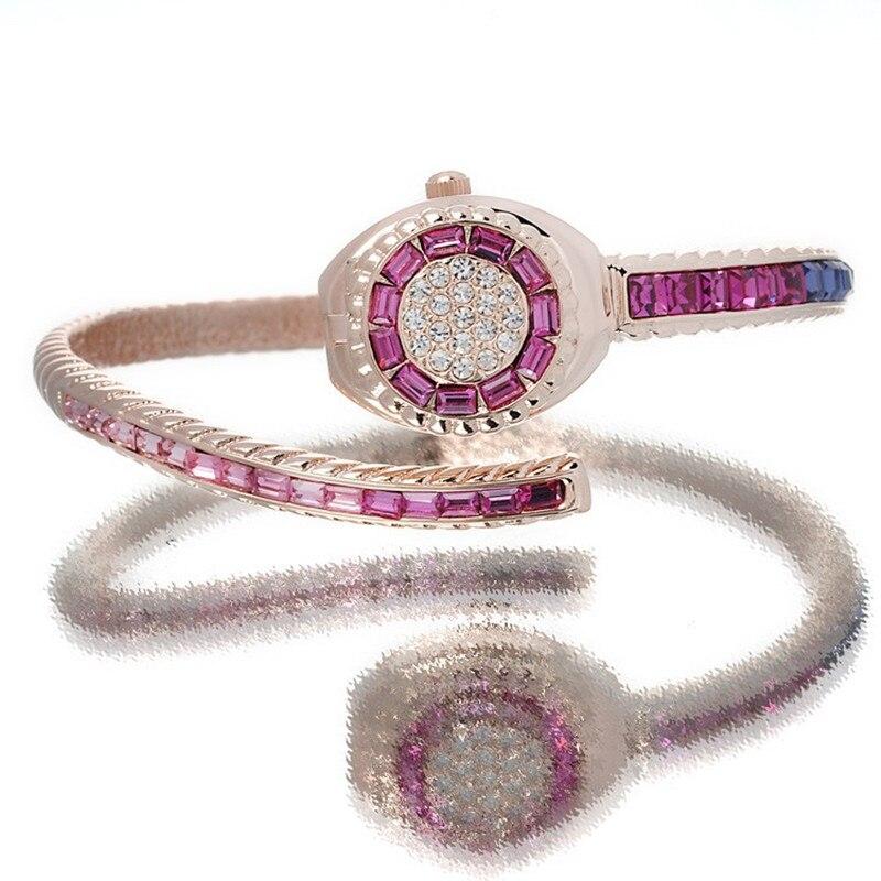 Melissa Luxury Women Rhinestones Bangle Watches Delicate Infinity Jewelry Wristwatch Fantasy Crystals Thin Bracelet Watch Quartz zx 0611 ellipse stylish women s rhinestones bracelet multicolored