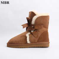 MBR Genuine Sheepskin Leather Fashion Girls Lace Up Short Suede Snow Boots For Women Sheep Fur