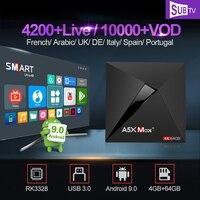Full HD IPTV France SUBTV Box A5X MAX Android 9.0 RK3328 4G 64G 2.4G/5G WIFI Spain Arabic French IPTV Italia Uk Portugal IP TV