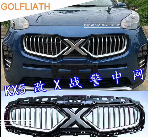 GOLFLIATH TOP QUALITY AUTO FRONT GRILL GRILLE RACING GRILL COVER X-man version FIT FOR KIA SPORTAGE KX5 CAR 2016 2017 racing grills version aluminum alloy car styling refit grille air intake grid radiator grill for kla k5 2012 14