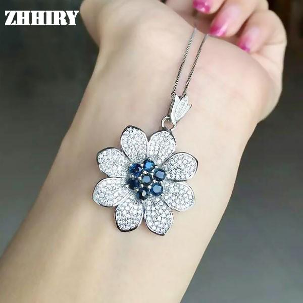 S925 Esterlina Colar de Prata Natural Sapphire Gemas de Rubi Pingente de Wwomen ZHHIRY Jóias Em Forma de Flor