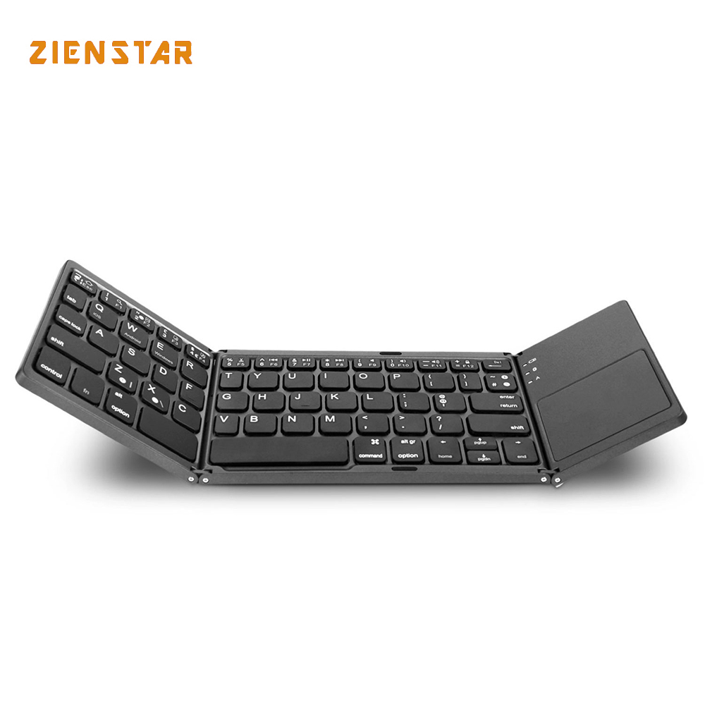 Zienstar Mini Tri-Folding Wireless Bluetooth Keyboard with Ttouchpad for ipad/Iphone/Macbook/PC computer/Android tablet