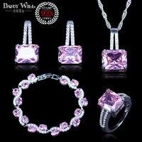 925 Gioielli Da Sposa di Cristallo Rosa Bianco Cubiche Dei Monili di Zircon Per Le Donne Orecchini/Pendente/Collana/Anelli braccialetto/braccialetto Set