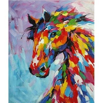 Handmade Hand painted Modern Abstract Wall Decor Fine Art Acrylic Oil Painting Horse rainbow Artwork Canvas Painting artwork