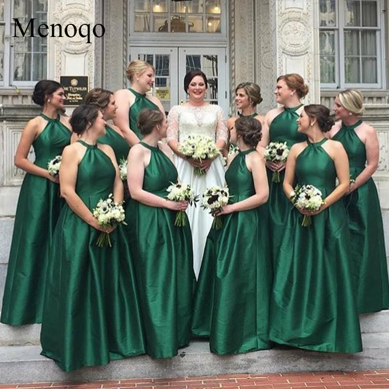 Menoqo Sexy 2019 Green Junior   Bridesmaid     Dress   Wedding Party   Dress   Floor Length Halter Pleated Formal   Bridesmaid     Dresses