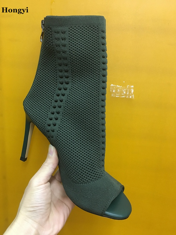 Sexy Weave Design Elegant Knit Boot Woman High Heel Short Booties Open Toe Zipper Thin Heel Pumps Ankle boots Women