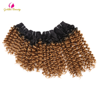 8 14inch Bouncy Curly Synthetic Hair Weave Imported Fibre Toni Curl Sew In Hair Extensions 4pcs