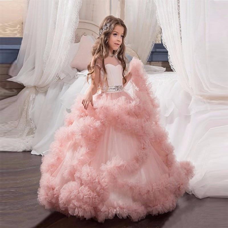2017 Nouvelles Robes De Fille De Fleur Rose Première Communion Robes Pour Filles Robe De Bal Cloud Perlées Pageant Robes Robe De daminha