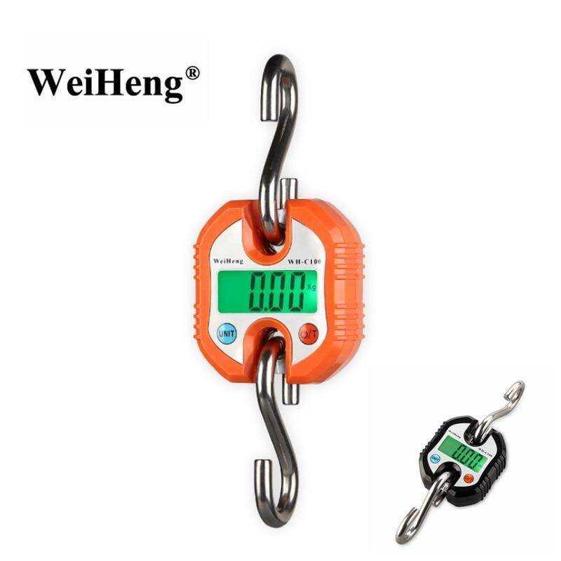 Цифровые крановые весы 150 кг, портативные подвесные весы с крючком из нержавеющей стали для взвешивания рыбы с зеленой подсветкой, 150 кг, 50 г