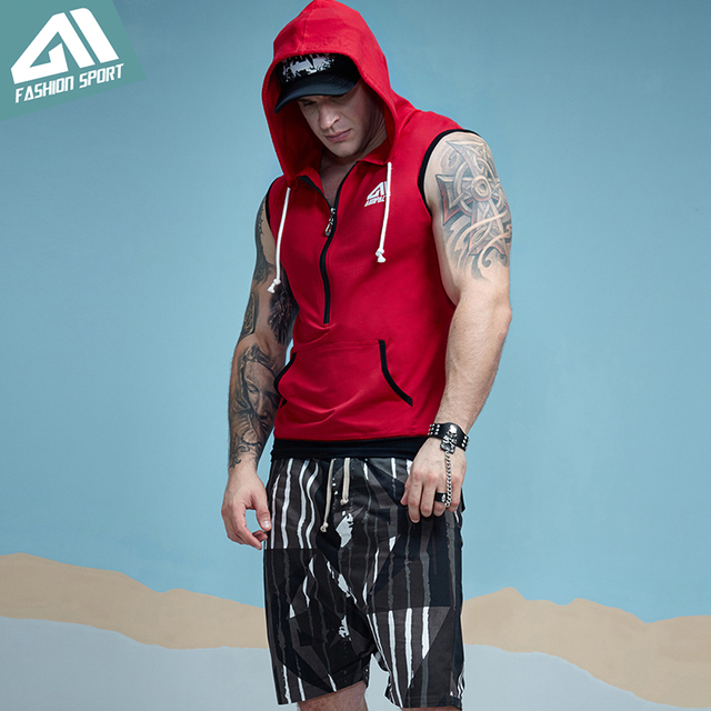 Aimpact GYM Workout Tank Top Sport Fitted Sleeveless Hoodies Mens Tapered Zip Athletic Hoody Activewear Crossfit Workout Tees 5
