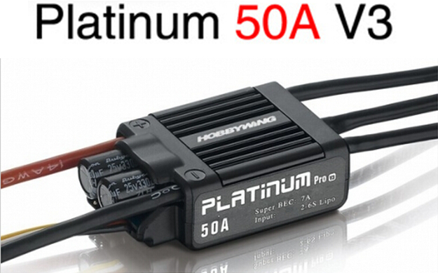 Hobbywing Platinum 50A V3 High Performance ESC for Align TREX 450 450L Helicopter Fixed Wing ESC 1pcs original hobbywing platinum 100a v3 rc model brushless esc for multicopter for align trex 550 600 700 rc helicopter fixed w