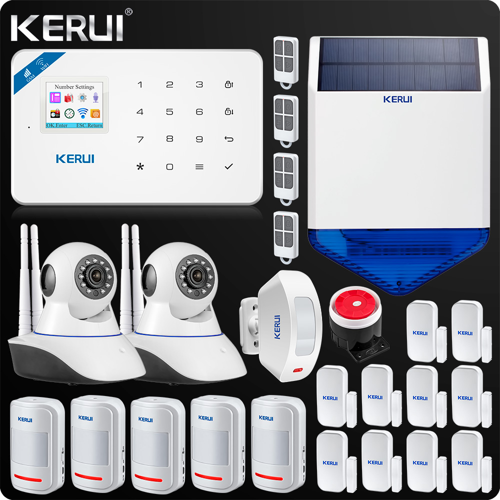 KERUI W18 WIFI GSM SMS Home Burglar Security Alarm System Curtain Motion Sensor Wireless Solar Siren
