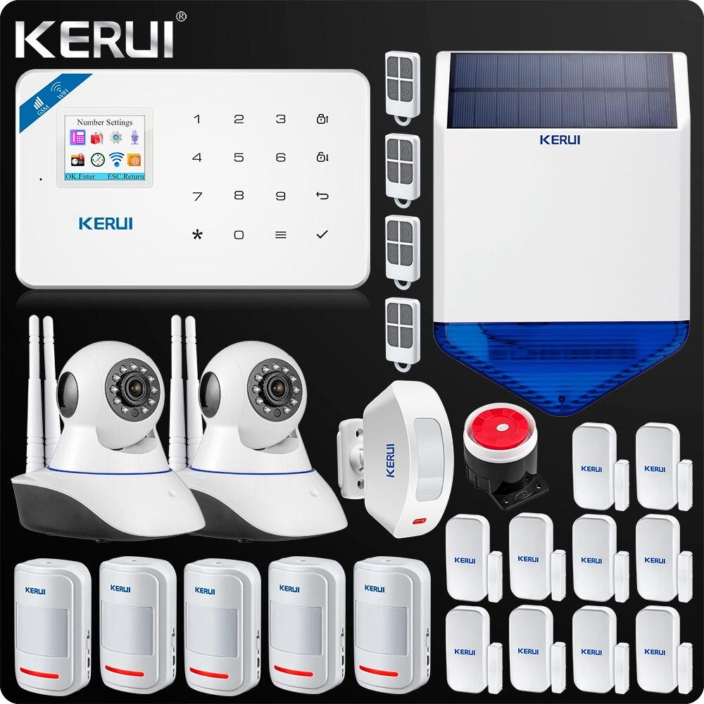 KERUI W18 WIFI GSM SMS Home Burglar Security Alarm System Curtain Motion Sensor Wireless Solar Siren IP Indoor Camera
