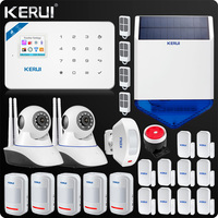 KERUI W18 WIFI GSM SMS Home Burglar Security Alarm System Curtain Motion Sensor Wireless Solar Siren IP Indoor Camera