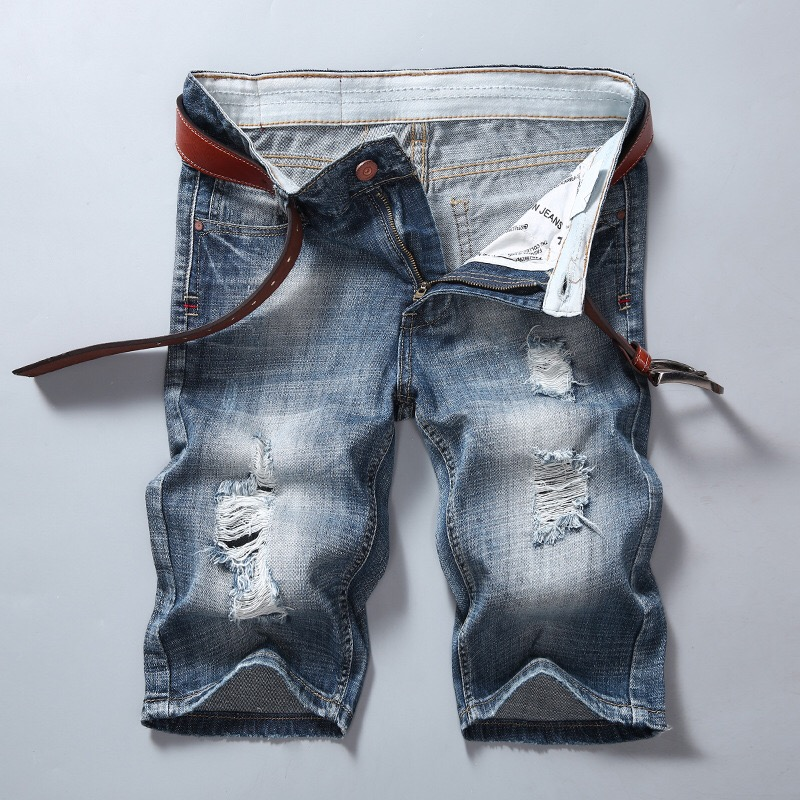 High Quality Denim Short Straight Pants Men Jeans Trousers Homme Ripped Jeans
