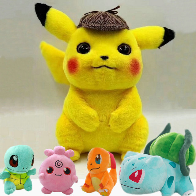 Dective Pikachu Charmander Brinquedo Jigglypuff Poliwhirl de Pelúcia Gengar Filme brinquedos anime Boneca Para presentes de aniversário do bebê Do Miúdo Macio Anime