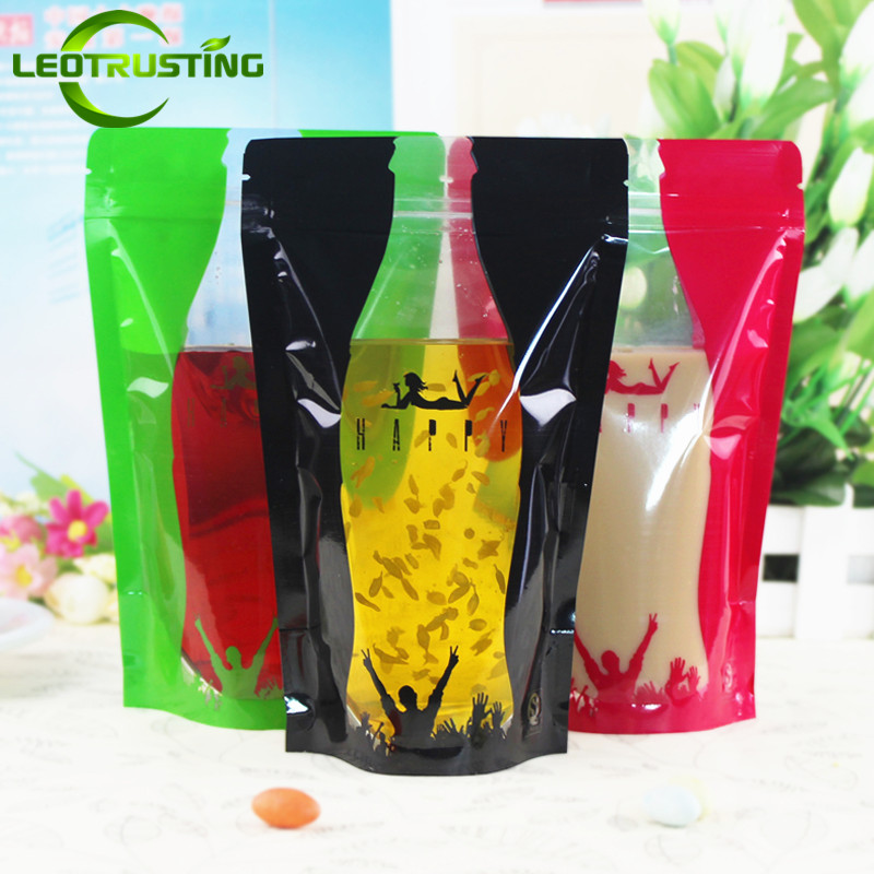 Leotrusting 100pcs 350ml-500ml Stand up Plastic Ziplock Bag Hot and Cold Beverage Bag Wedding Party Plastic Food Drinking Pouch