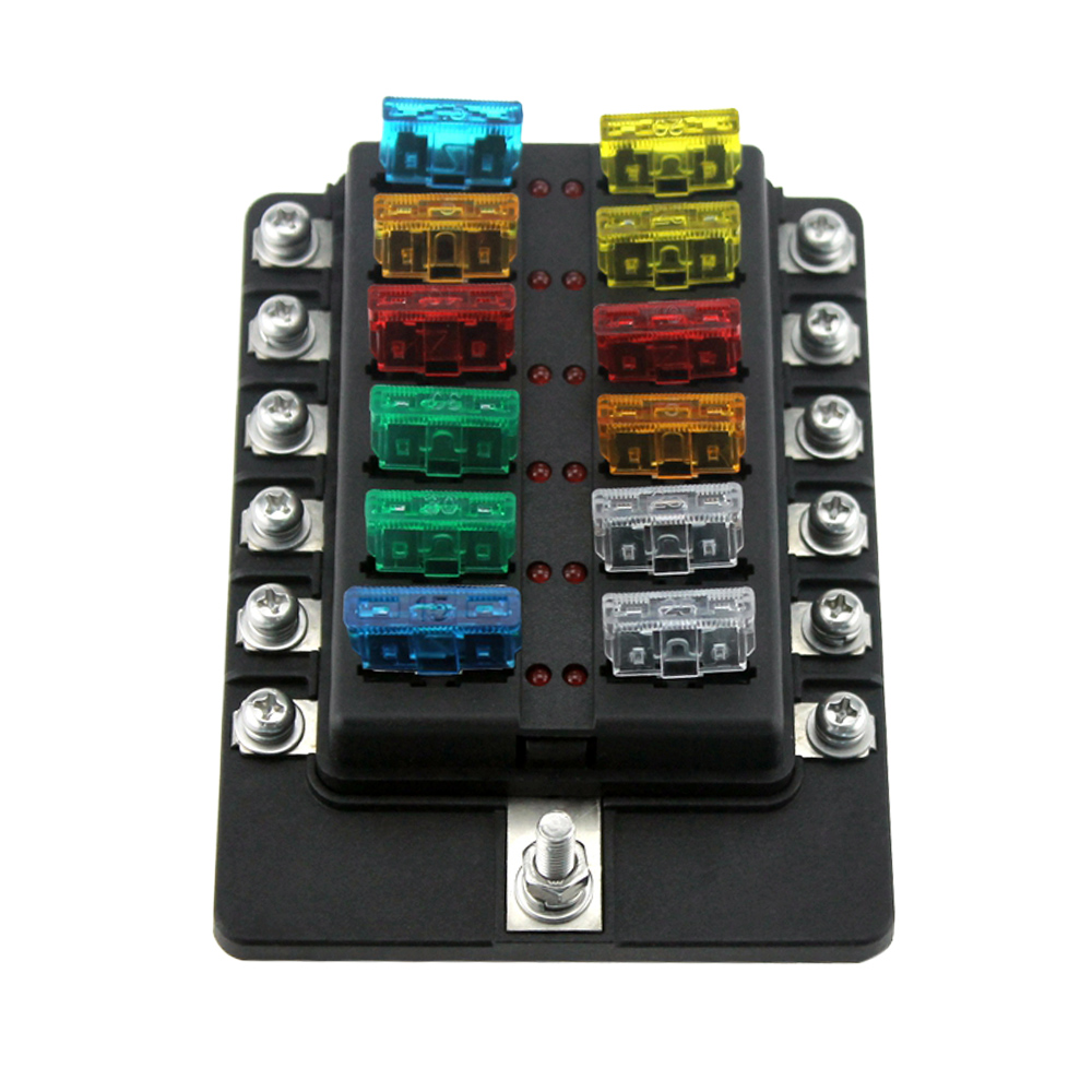 12 Way Blade Fuse Box Holder Fuse Blocks with Red LED Indicator 10Pcs Fuses  10Pcs Terminals