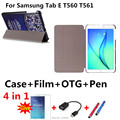 Nueva Cubierta de Cuero dibujo Coloreado T560 capa para para samsung galaxy tab e 9.6 t560 t561 9.6 pulgadas tablet pc Case + pen + Película + OTG