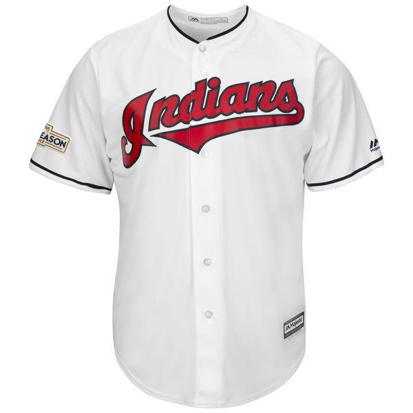 MLB Mens Cleveland Indians Baseball White 2017 Postseason Cool Base Custom Jersey