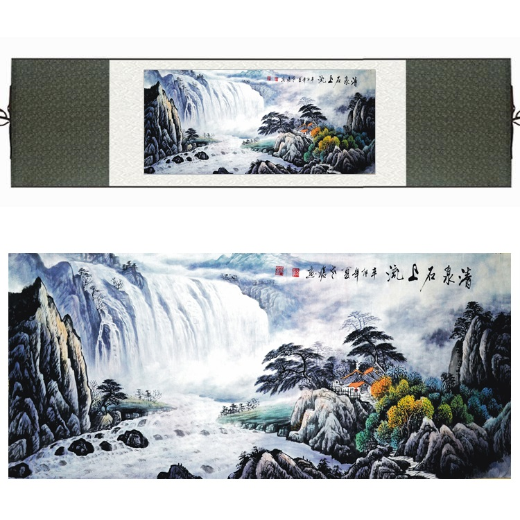 Chinese Silk Watercolor Waterfall Mountain Pine Tree River Landscape Feng Shui canvas wall picture damask framed scroll paintingChinese Silk Watercolor Waterfall Mountain Pine Tree River Landscape Feng Shui canvas wall picture damask framed scroll painting