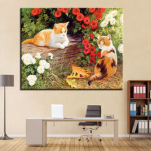 Framework Oil Paint By Numbers DIY Drawing Kits Coloring Lovely Kitten Handpainted On Canvas Wall Paints Modular Artwork Picture