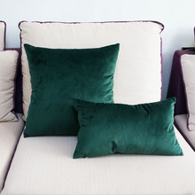 High Quality Soft Emerald Green Velvet Pillow Case Cushion Cover Dark Green Pillow Cover No Balling-up Without Stuffing
