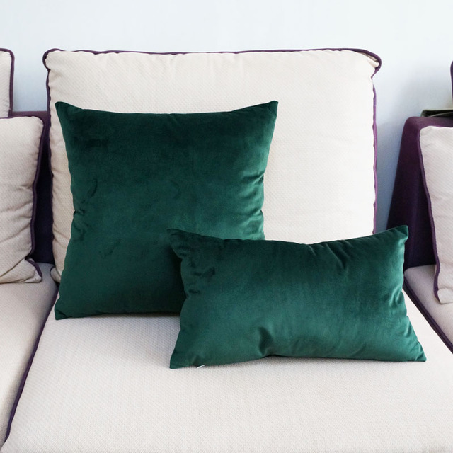 High Quality Soft Emerald Green Velvet Pillow Case Cushion Cover Dark No Balling