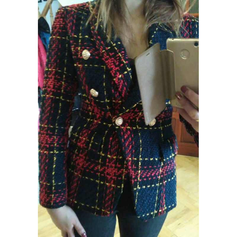 HIGH STREET New Fashion Runway 2020 Designer Blazer Women's Lion Metal Buttons Plaid Colors Tweed Wool Blazer Jacket Size S-XXL