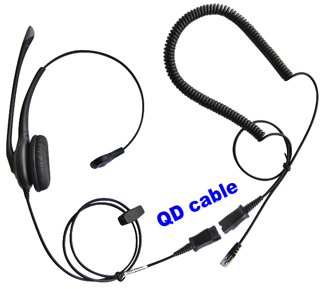 Professional Call Center Headset Rj9 Plug With Quick Disconnect