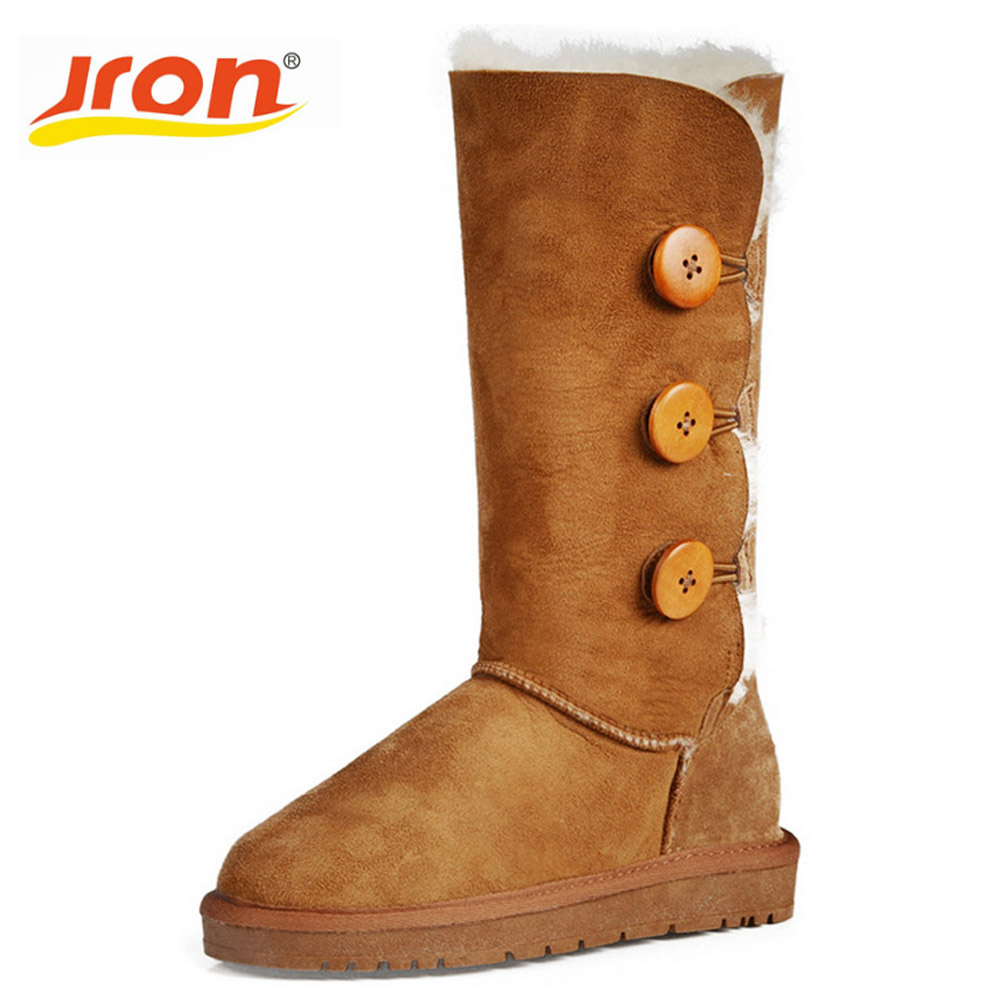 Jron 26 cm Winter Warm Snow Boots Genuine Letaher Woolen Shearling Shoes Knee High Anti-slip Boots Female Winter Sheepskin Boots jron mid calf genuine sheepskin leather woman shearling snow boots rubber sole anti slip function warm boots for winter autumn