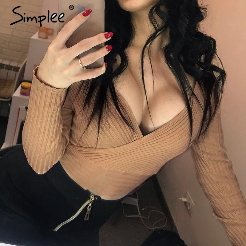 Simplee Sexy v-neck women   blouse     shirt   Elegant long sleeve slim   shirt   top Female off shoulder top   shirt   ladies tops   shirt   2019