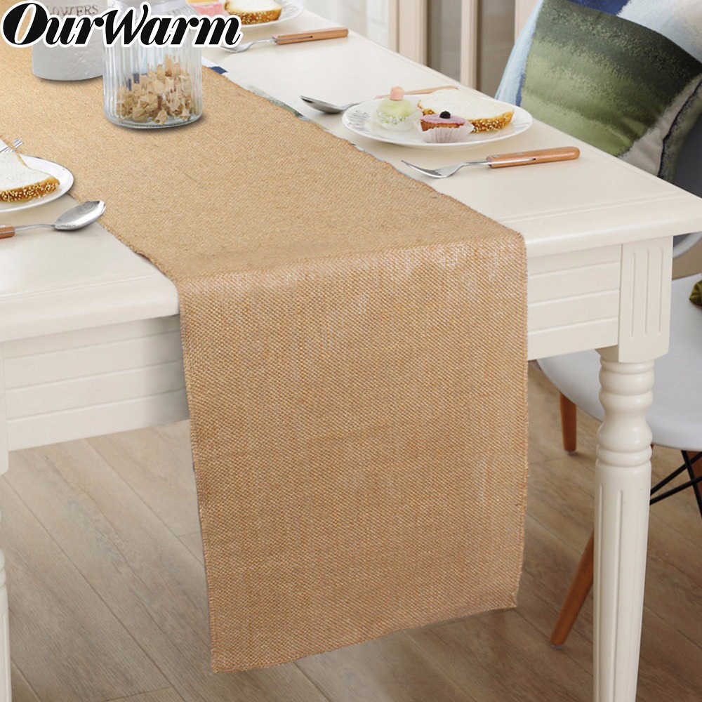 Ourwarm Natural Jute Table Runner Wedding Burlap Runners