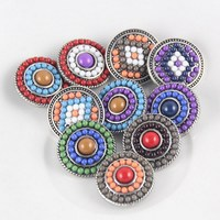 Rhinestone new 10pcs/lot hot sale metal mix color  Rhinestone snap new button fit DIY snap bracelets jewelry