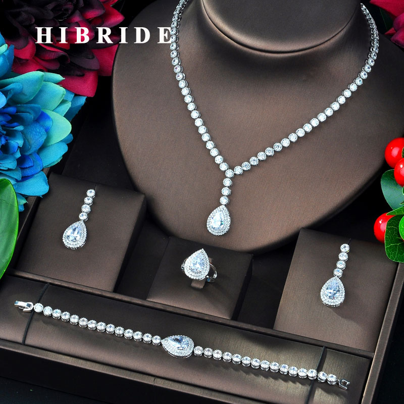 HIBRIDE Fashion Design Green Water Drop Shape Cubic Zircon Bridal Jewelry Sets For Women Wedding Accessories