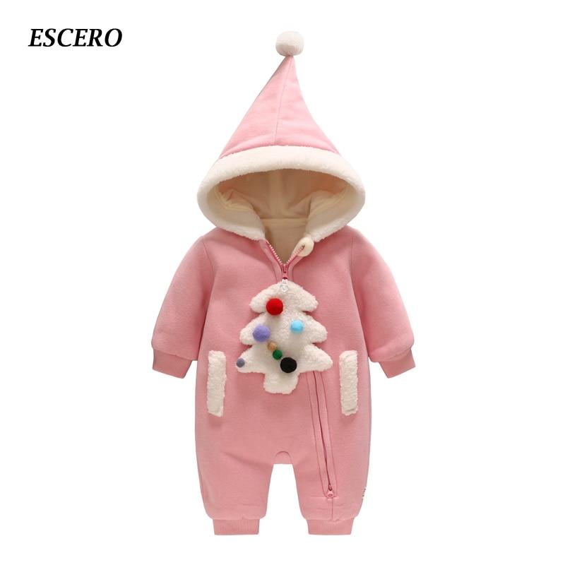 ESCERO Baby Clothing Newborn Cotton Rompers Bebe Girl Romper Baby Girl Clothing Bebe Winter Clothes Newborn Infant Coat