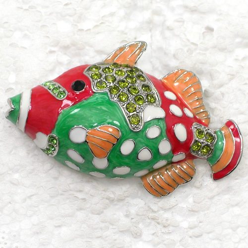 12pcs/lot Wholesale Fish Enamel Rhinestone Pin brooches C101985-in Brooches from Jewelry & Accessories    2