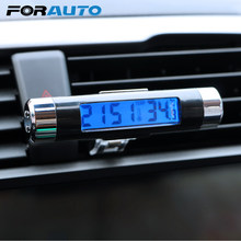 FORAUTO 2 in 1 LCD Display Screen Car Digital Time Clock Air Vent Outlet Thermometer Car Decoration Auto Accessories(China)