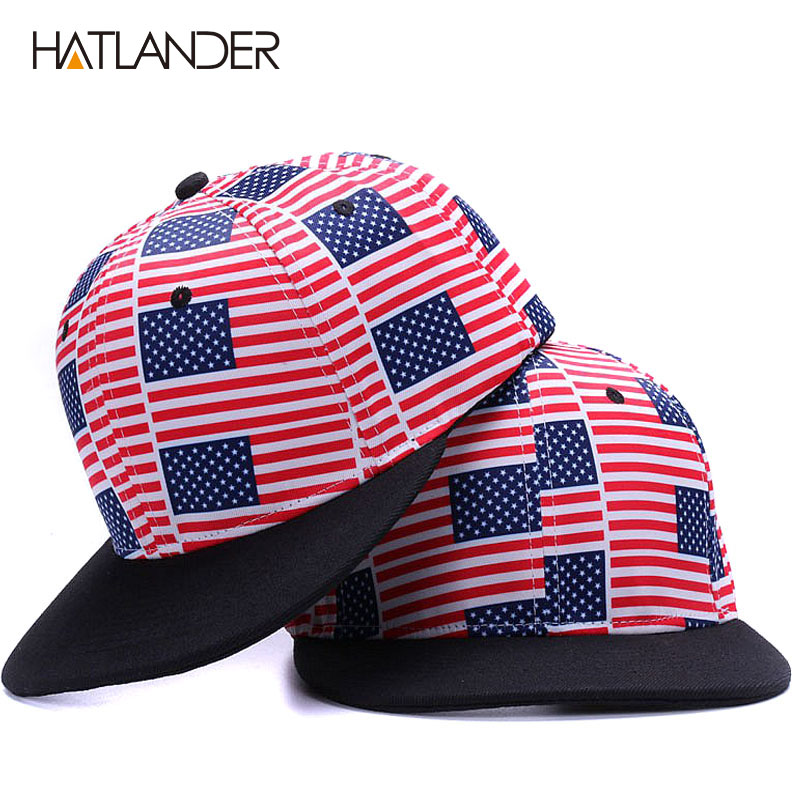 80c7fda2990  HATLANDER Drop shipping USA Flag snapbacks caps casual hip hop hats boys  Rap Adjustable