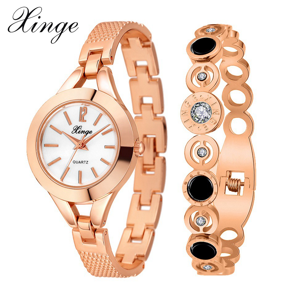 Xinge Popular Brand Women Dress Luxury Rose Gold Bangle Bracelet Watch Set Ladies Crystal Rhinestone Quartz Wristwatches spring big sale brand bs luxury 14k gold diamond women watch lady gold siliver dress watch rhinestone bangle bracelet