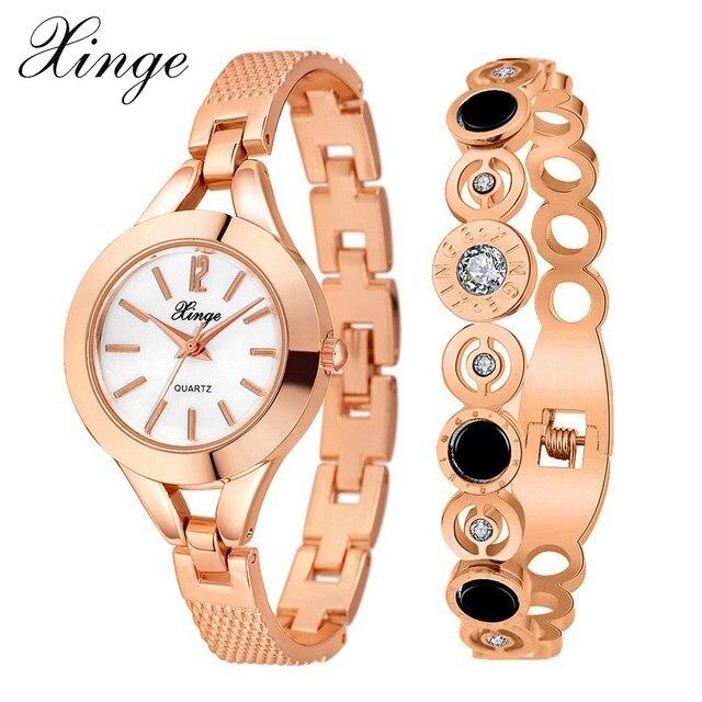 Xinge Popular Brand Women Dress Luxury Rose Gold Bangle Bracelet Watch Set Ladies Crystal Rhinestone Quartz Wristwatches