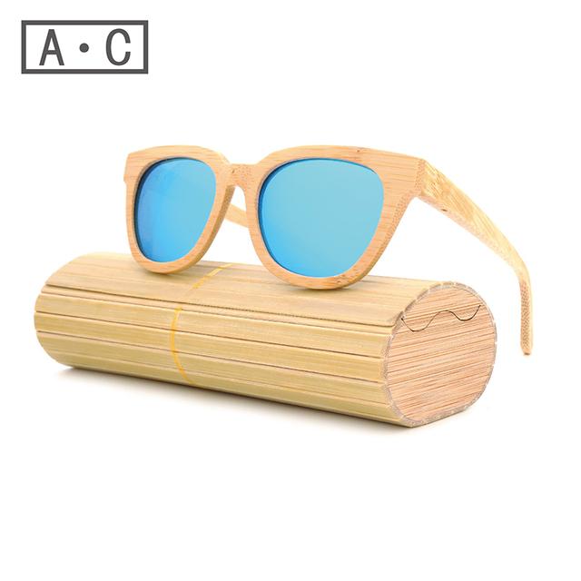 New productos de moda hombres mujeres vidrio gafas de sol de bambú au retro vintage lente de madera marco de madera hecho a mano