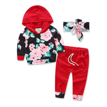 Toddler Newborn Baby Boy Girl Clothes Long Sleeve Hooded T-shirt Tops + Pant 2PCS Outfit Kids Clothing Set Tracksuit 3pc toddler baby girls clothing denim t shirt tops long sleeve leopard skirt set kids clothes girl outfit