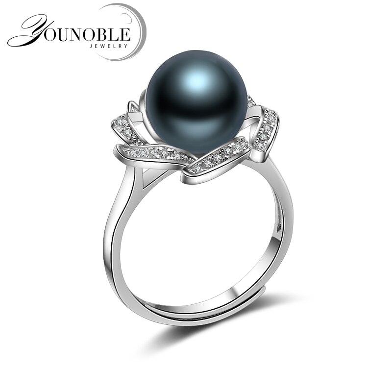 Anneaux de perles noires, mariage réel rond bague de perles naturelles de tahiti 925 bijoux en argent femme cadeau d'anniversaire mère de luxe