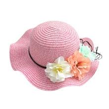 Rosa bege azul roxo chapéus de palha do verão cap para as mulheres ladies  casual praia flor chapéus sombra Proteção do sol chapé. 534415995ab