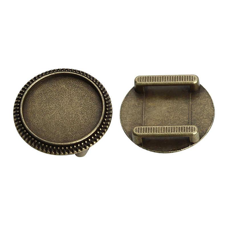 10 pièces Dia 18mm rond blanc Cabochon Base réglage pour Bracelet en cuir plat Antique Bronze/argent couleur lunette camée Pad F3766